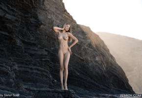 mariposa, tits, boobs, outdoor, shaved pussy, nude, big tits, hard nipples, sea, beach