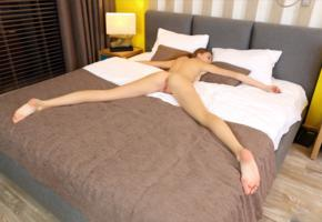 elle tan, elle, model, brunette, supine, sleeping, pussy, shaved pussy, labia, anus, ass, legs, long legs, bed, bedroom, nude