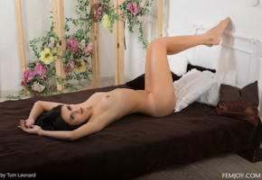 stella p, small tits, bed, laying, legs up, tanned, nude, black hair
