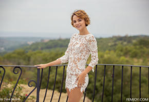 ariel a, dress, standing, outdoor, smile, outside, see through, lilit a