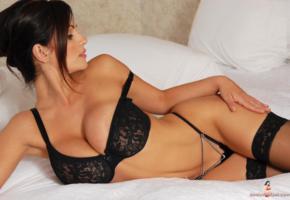 denise milani, brunette, bed, stocking, black lingerie, lingerie, boobs, big tits, black stockings, black bra