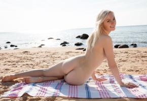 kate fresh, blonde, beach, naked, ass, smile, ultra hi-q