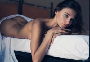 brunette, model, bed, bed sheets, naked, covering, ass