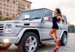 model, brunette, legs, high heels, stilettos, car, mercedes, outdoors, no nude, g klasse, long legs, widescreen cut, tight clothes, sexy, body