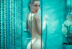 wet, shower, brunette, naked, bath, ass