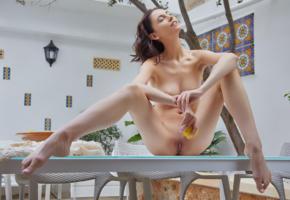 sade mare, sabrina g, miryam, brunette, table, lemon, naked, boobs, tits, shaved pussy, labia, spread legs, hi-q, beautiful feet