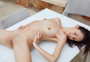 sade mare, sabrina g, miryam, brunette, table, naked, boobs, small tits, hard nipples, shaved pussy, labia, spread legs, smile, hi-q, tits, nipples