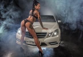 angelica anderson, brunette, tattoo, car, smoke, ass, tanned, bikini, oiled, mercedes, heels, girls and cars, sexy, ass wallpaper