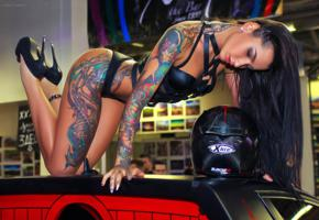 angelica anderson, brunette, tattoo, car, roof, ass, tanned, helmet, black lingerie, high heels, sexy, girls and cars, fetish babe, tattoos, body art