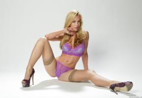 kayden kross, heels, panties, stockings, bra, lingerie