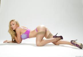 kayden kross, ass, stockings, heels, bra, blonde