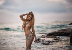 beauty, nude, sea, boobs, big tits, topless, blonde