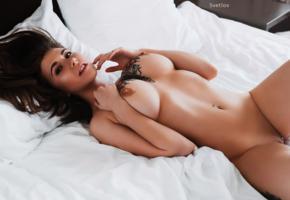 tattoo, big boobs, big tits, gorgeous, piercing, katerina prist, russian, model, bed, tanned, nude, boobs, shaved pussy, katrana prestor