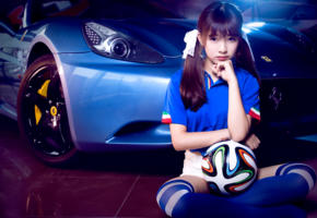 asian, model, pretty, ball, knee socks, ferrari, car, football