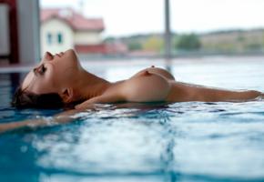 naked, pool, big boobs, big tits, water, hard nipples, brunette, wet, nipples, boobs