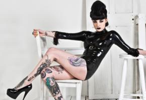 brunette, tattoo, gothic model, sitting, tight clothes, black, high heels, minidress, erotic, fetish babe, fetish