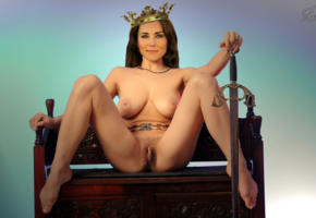 kate middleton, brunette, big boobs, legs spread, pussy, trimmed pussy, feet, posing, princess, crown, sword, fake