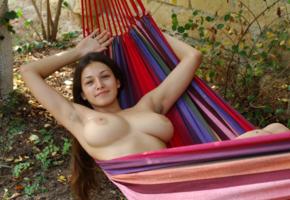 sofi a, sofie, big boobs, big tits, hammock, hot, brunette, boobs, smile