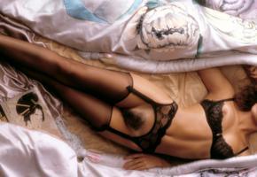 teri weigel, lingerie, playboy, hairy pussy, haired pussy, stockings, black stockings, boobs, big tits, bra, black lingerie, suspenders