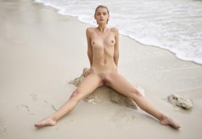ariel, lilit a, ariela, rufina t, beach, naked, boobs, tits, nipples, shaved pussy, labia, spread legs, wet, rock, ultra hi-q