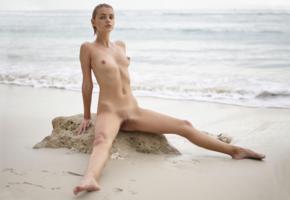 ariel, lilit a, ariela, rufina t, beach, rock, naked, wet, boobs, tits, nipples, shaved pussy, labia, spread legs, ultra hi-q