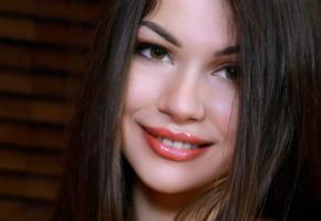delphina, beautiful, brunette, face, lips, smile