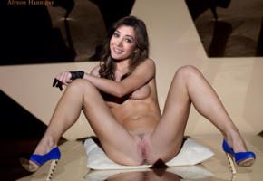 alyson hannigan, brunette, sitting, heels, spread legs, smile, gloves, pussy, labia, fake