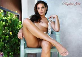 angelina jolie, pussy, feet, sitting, dark hair, fake, tits