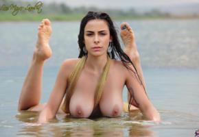 lena meyer landrut, beach, brunette, big tits, tattoo, wet, boobs, nipples, soles