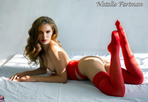 natalie portman, curly hair, perfect tits, nylons, lingerie, fake, stockings, red stockings, ass, tits, sexy