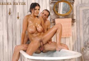 salma hayek, bathtub, big tits, brunette, wet, hard cock, fake, sex, bathroom, oiled, boobs, hot
