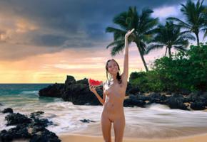 katya clover, clover, mango, caramel, mango a, brunette, beach, naked, boobs, tits, nipples, tanned, shaved pussy, watermelon, smile, hi-q