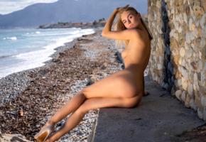 nancy ace, nancy a, jane f, erica, model, blonde, tits, boobs, ass, legs, stilettos, ocean, sea, outdoors, nude, beach