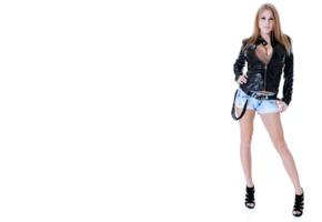 biker, sexy, 4k, non nude, jeans shorts, viola bailey
