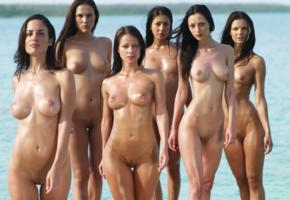 melisa mendiny, brunette, 6 babes, oiled, anna sbitnaya, kristina uhrinova, nude, wet, boobs, big tits, tits, shaved pussy, pussy, sea, muriel