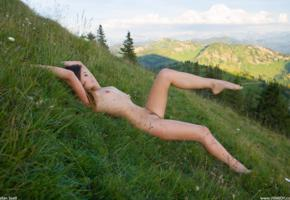 naked, hill, lorena b, lorena garcia, trimmed pussy, nude, tiny tits, brunette, grass