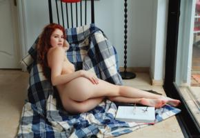 redhead, ass, naked, legs, tits, book, adel c