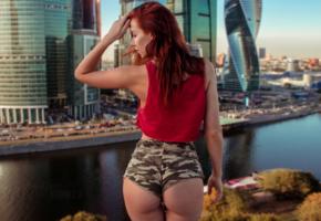 inga sunagatullina, short shorts, ass, back, redhead, river, moscow, russia