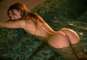 sea rose, playboy, ass, wet, pool, tanned, wet hair