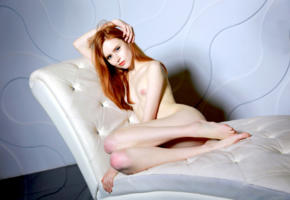 bella milano, elizaveta shahmametova, elizaveta prohorenko, model, blue eyes, soft focus, nude, redhead