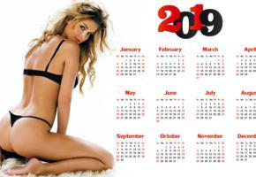 model, brunette, lingerie, bra, panties, thong, ass, 2019, calendar