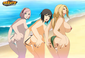 naruto, hentai, anime, cream pie, cun in pussy, pussy, sea, beach, labia
