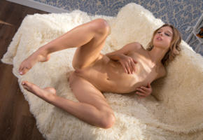 clarice a, clarice, elvira, couch, shaved pussy, labia, pussy, nude, brunette, spreading legs