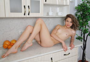 clarice a, clarice, elvira, kitchen, nude, brunette, smile, small tits, tits, ass