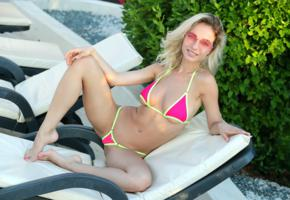 danica jewels, danica, natalie andreeva, blonde, outdoors, non nude, bikini, boobs, big tits, spread legs, sunglasses, smile, hi-q