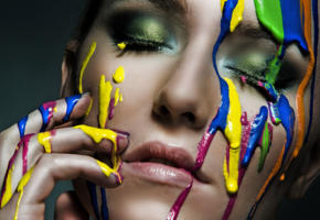 face, body painting, colors, closed eyes, girl