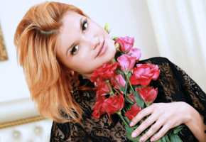 violla a, 4k, sexy, smile, flowers, redhead