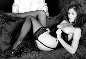 stockings, lingerie, babe, sexy, garters, suspenders, high heels, stilettos, black and white, monochrome, tits, boobs, nipples, caprice, little caprice, puffy nipples