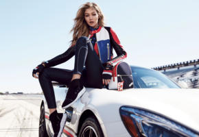 gigi hadid, top model, blonde, sensual lips, long hair, car, tommy hilfiger, fashion, glamour, bag, outdoors, tight clothes, girls and cars
