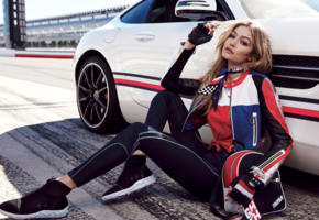 gigi hadid, top model, blonde, sensual lips, long hair, car, tommy hilfiger, fashion, outdoors, glamour